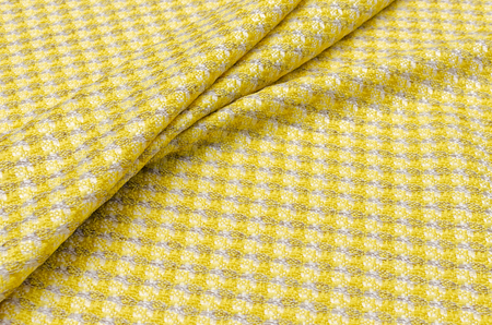 Fabric tweed beige yellow