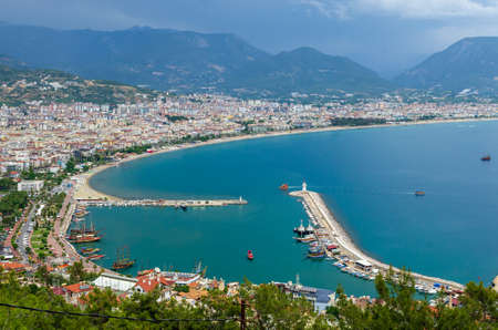 Alanya Town view from Alanya Castle in Turkey Stock Photo