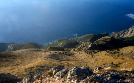On the top of the Agion Oros (Athos Mountain) in Greece. A view on Panagia kelia