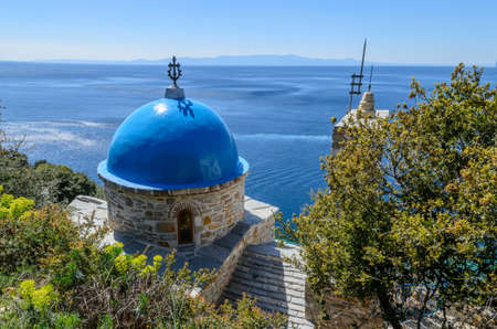 Small Church and chapel on Athos, Chalkidiki, Central Macedonia, Greece Stock Photo