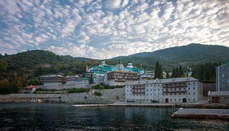 Russian Orthodox Christian Saint Panteleimon Monastery of 1760. Athos. Greece. Imagens