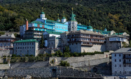 Panoramic view of Russian St. Panteleimon's Orthodox monastery at Mount Athos, Halkidiki, Greece Stock Photo