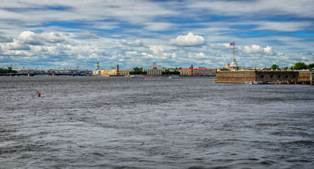 View of the St. Petersburg and the Neva River, Russia