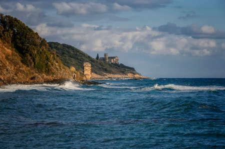 Stavronikita monastery view from Iviron port, Mount Athos, Greece