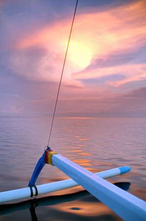 Morning, sunrise on Lovina beach, Bali