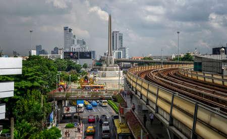 BANGKOK, THAILAND - October 29: Victory monument in central Bangkok on October 29, 2015 in Bangkok.