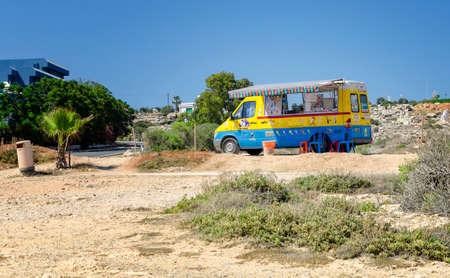 AYIA NAPA, CYPRUS - June 16: motortruck sells ice cream and fresh juice in Cave Grekko on the June16th, 2016 in Ayia Napa, Cyprus.