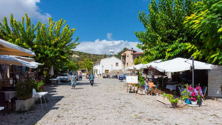 Omodos Cyprus. October 6 2019. A street scene in the traditional village of Omodos in Cyprus