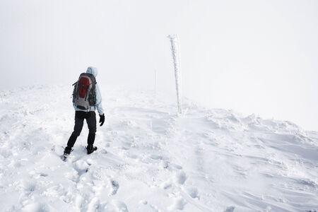 mountin: white way in winter in the mountin