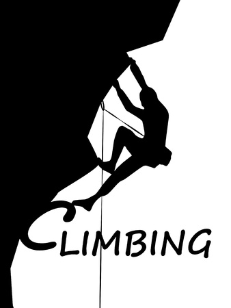 rappel: climbing mountaineer sport logo Stock Photo