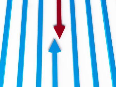swerve: arrows result diagram 3d Stock Photo