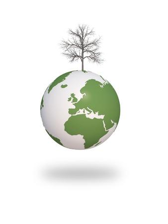 earth green tree ecology 3d cg for web design, presentation or illustration Stock Illustration - 11840442