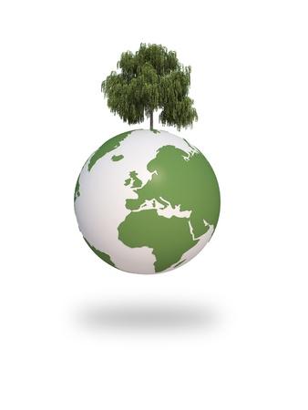 greenpeace: earth green tree ecology 3d cg for web design, presentation or illustration