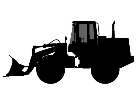 wheeled tractor: excavator silhouette