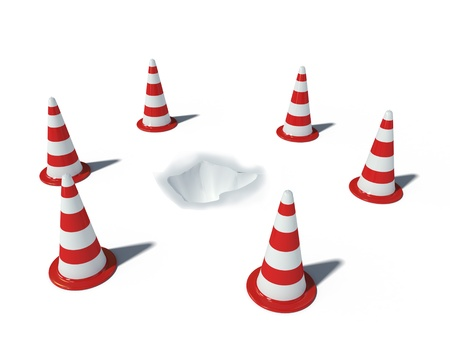 road works: cones with hole Stock Photo