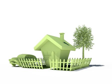 house car tree fence 3d cg