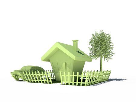 house car tree fence 3d cg Stock Photo - 11932967