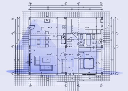 sales floor: house with drawing for web design or presentation