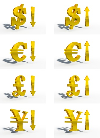 up and down: money symbols courses up down white background gold