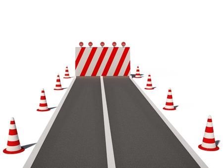 no way: road no way traffic cones 3d cg