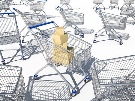 mart:  shopping cart 3d cg for web design or presentation Stock Photo