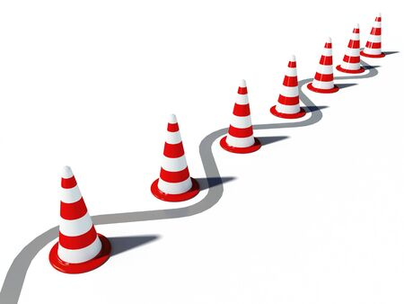 boundaries: traffic cones 3d cg illustration Stock Photo