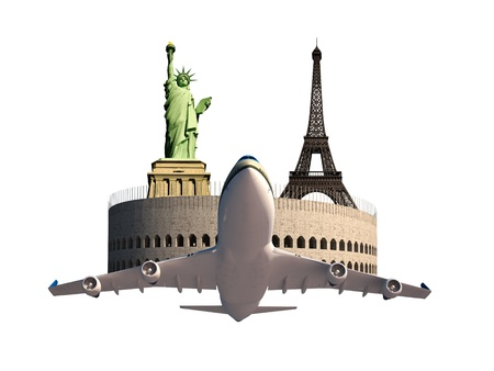 destination wedding: Eiffel tower Statue of Liberty Coliseum Airplane Tourism