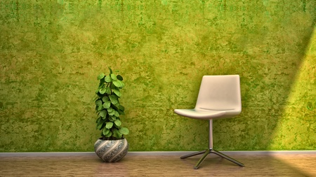 renders: interior scene design house chair flowers