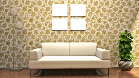 renders: interior scene sofa wall picture flowers