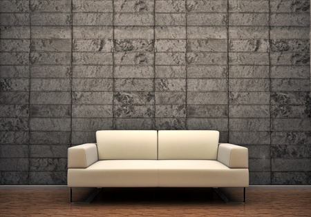 sofa interior scene wall house design Stock Photo
