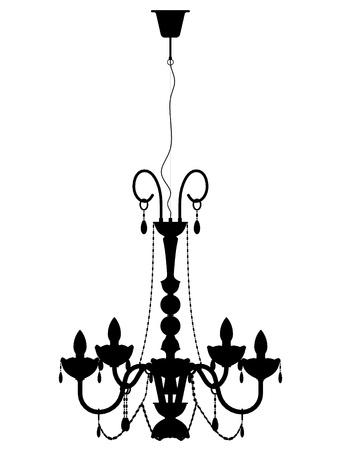 chandelier: old lamp retro style lustre outline silhouette