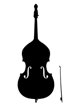 double bass outline silhouette Imagens