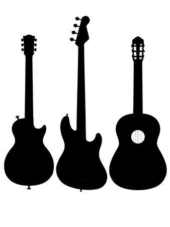 Gitarre Umriss Silhouette Elektro-Akustik Standard-Bild - 12121260