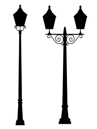 gas lamp: street lamp light outline silhouette