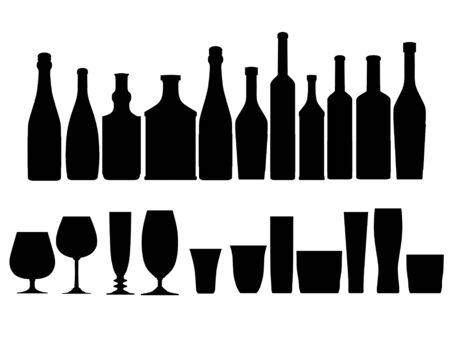 whisky bottle: bottles glasses outline silhouette