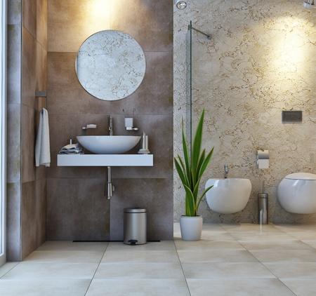 interior bathroom scene Stock Photo
