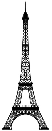 eiffel: Eiffel tower vector outline silhouette Illustration