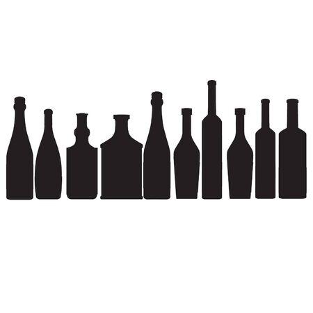whisky bottle: bottles vector outline silhouette