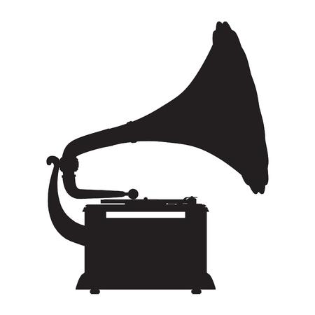 grammofoon vector schets silhouet
