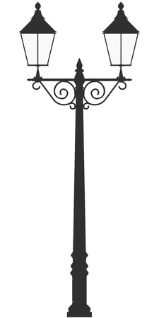 street lamp light vector outline silhouette Illustration