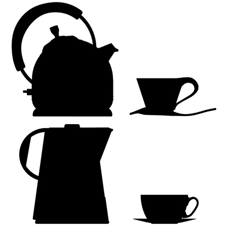 cofe: tea pot vector outline silhouette coffee glass Illustration