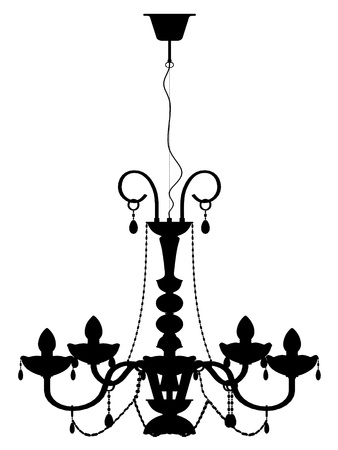 chandelier lamp outline vector silhouette Vector