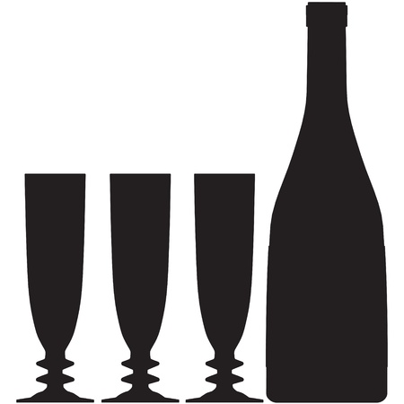 glass bottle vector silhouette outline champagne Vector
