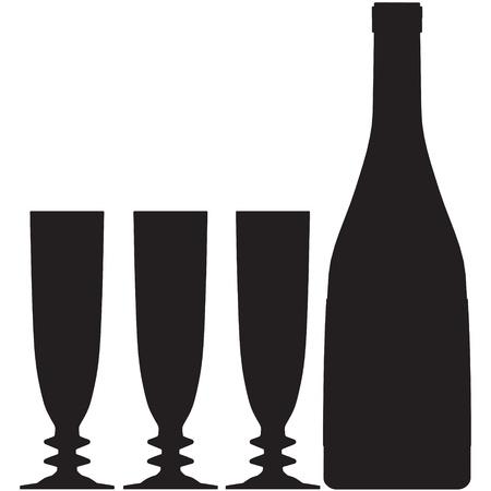 glazen fles vector silhouet, schets, champagne