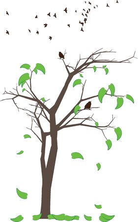 late fall: abstract tree autumn leaves birds vector Illustration
