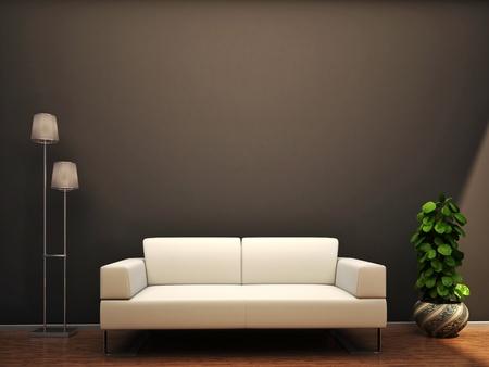 interior scene sofa flower lamp