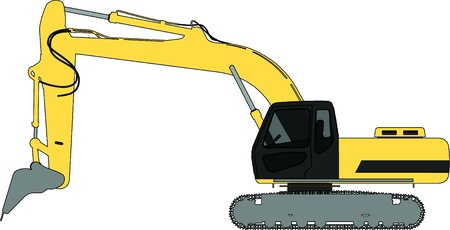 excavator vector outline silhouette Vector