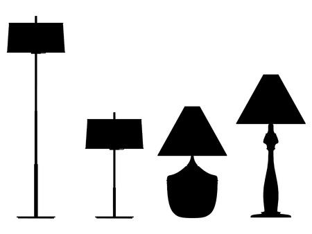 vector de la silueta moderna lámpara de esquema