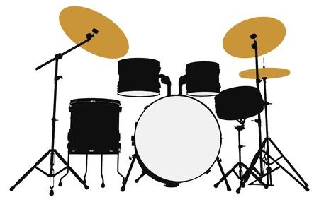 Schlagzeuger Umriss Silhouette Standard-Bild - 12492654