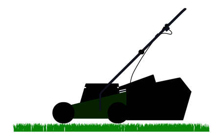 lawn mowing: mower outline solhouette Illustration